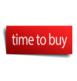 time to buy red paper sign on white background vector image vector image