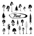 tree icon set hand drawn isolated vector image vector image