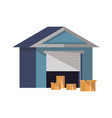 warehouse building icon in flat design vector image