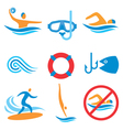 Water sport icons vector image vector image