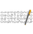 weather condtitions doodle set vector image vector image