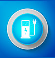 white electric car charging station icon isolated vector image vector image