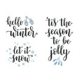 winter seasonal calligraphy set vector image vector image