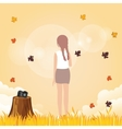 Woman leve her camera to enjoy weather fall leave vector image