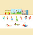 women in fitness club doing different workout vector image vector image