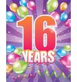 16 years birthday card vector image