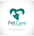 a dog and cat in heart shape on white background vector image vector image