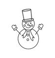 a snowman in the outline icon winter vector image vector image