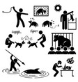 animal cruelty abuse by human stick figure vector image vector image