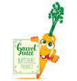 banner for carrot juice with cute character carrot vector image