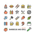 bbq signs color thin line icon set vector image