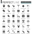 black classic household appliances web icons set vector image vector image