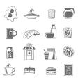 Breakfast Black White Icons Set vector image vector image