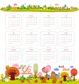 calendar for 2016 with cartoon and funny animals vector image