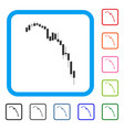 Candlestick falling acceleration chart framed icon