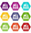 cash register icon set color hexahedron vector image vector image