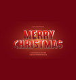christmas font 3d red golden style vector image