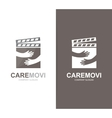 clapperboard and hands logo combination vector image vector image