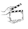 clapperboard engraving vector image vector image