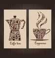 coffee cup and pot icon set of small icons vector image