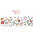 cooking flat horizontal seamless pattern kitchen vector image