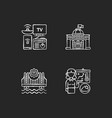 core services chalk white icons set on black vector image