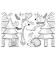cute animals with pine trees and plants vector image vector image
