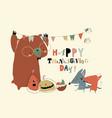 cute cartoon happy animals celebrating vector image vector image