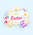 easter holiday background with 3d easter eggs vector image vector image