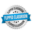 flipped classroom round isolated silver badge vector image vector image