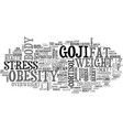 goji and weight loss text background word cloud vector image vector image