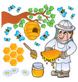 honey bee theme collection vector image
