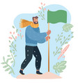 man planting a green blank flag success concept vector image vector image
