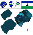 map of lesotho with named districts vector image vector image