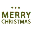 Merry christmas made from holly tree for your vector image vector image
