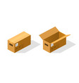 open and closed paper box isometric vector image vector image
