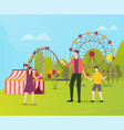 people spending free fun time in amusement park vector image vector image
