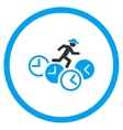 Person Running Over Clocks Rounded Icon vector image