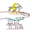 protecting big hand - cartoon family and stormy vector image