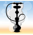 realistic silhouette hookah ilustration on blured vector image vector image