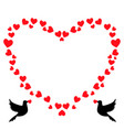 red heart shaped vintage border with loving doves vector image vector image