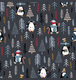 seamless pattern with cute penguins in pine forest vector image vector image