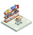 shopping room interior shelf with goods trolley vector image vector image