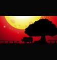 silhouette rhino in the park vector image vector image