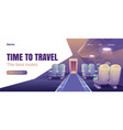 time to travel banner with airplane cabin interior vector image