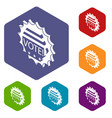 vote emblem icons hexahedron vector image vector image