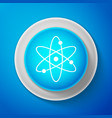 white atom icon isolated on blue background vector image