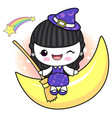 witch character is sitting on the moon halloween vector image vector image