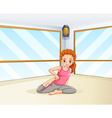 Woman doing yoga in the room vector image vector image