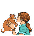 woman kisses a cat vector image